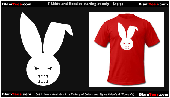 Blam Tees Logo Tee - Featuring Fluffy The Evil Blam Bunny - T-Shirt